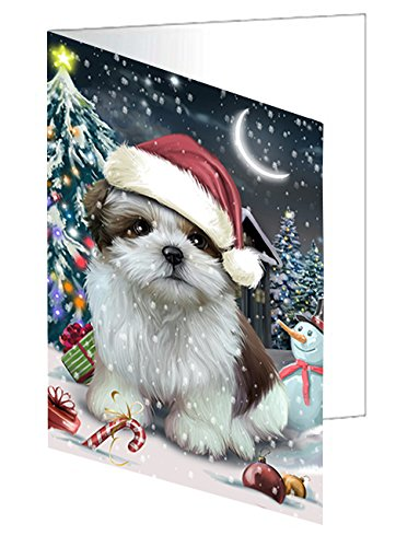 Doggie of the Day Have a Holly Jolly Christmas Shih Tzu Dog in Holiday Background Greeting Card D313 (10)