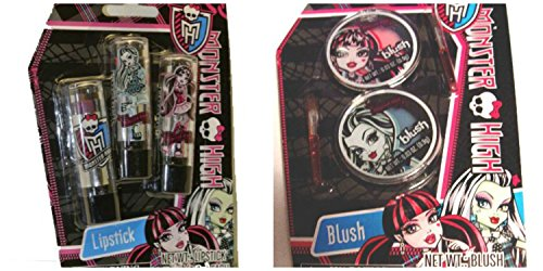 Monster High 3 Pack Lipstick & Blush Set Especially Designed For Girls 5 years old & Up, 2 Blushe Compacts with 2 Brushes