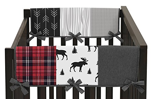 Sweet Jojo Designs Grey, Black and Red Woodland Plaid and Arrow Side Crib Rail Guards Baby Teething Cover Protector Wrap for Rustic Patch Collection - Set of 2 - Flannel Moose Gray