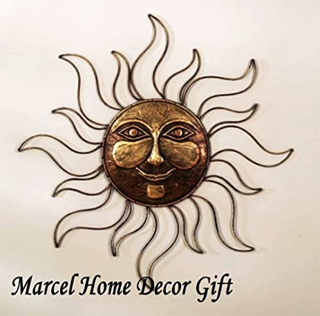 Amazon.com : Sun Face Metal Wall Art Decor Plaque, Indoor, Outdoor ...