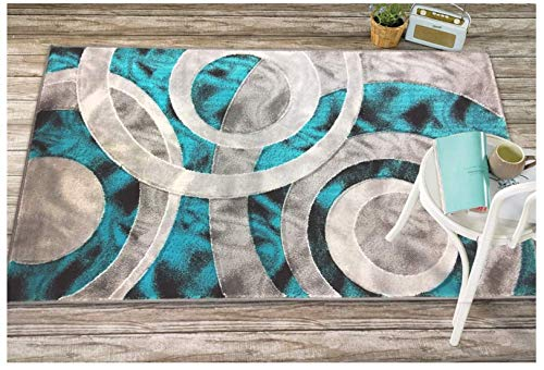 Sapphire Collection, 8 Feet X 10 Feet, Contemporary Abstract Geometric Circles Squares Swirls Bedroom Living Dining Room Area Rug (Turquoise/Grey) ()