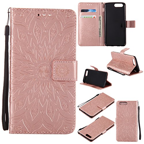 Price comparison product image OnePlus 5 Case, Ranyi [Full Mandala Embossed] [Flip Magnetic Wallet] [ID&Card Holder] [Kickstand Feature] Luxury Leather Folio Wallet Protective Case for OnePlus 5 (2017 Release), rose gold