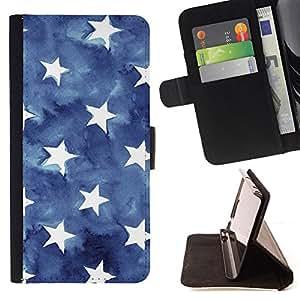 WATERCOLOR AMERICAN FLAG STARS BLUE/ Personalizada del estilo del dise???¡Ào de la PU Caso de encargo del cuero del tir????n del soporte d - Cao - For Samsung Galaxy Note 4 IV