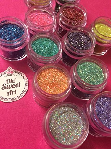 Disco Cake HOLOGRAM SET (12 colors) 5 GRAMS EACH CONTAINER, for cakes, cupcakes, fondant, decorating, cake pops By Oh! Sweet Art by Oh! Sweet Art (Image #3)
