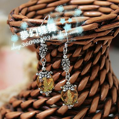 National Wind literary custom citrine earrings 64 faceted citrine earrings retro Tibetan silver earrings 925 white fungus hook