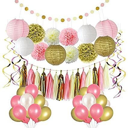 Amazon pink and gold party decorationsballoonpom poms flowers pink and gold party decorationsballoonpom poms flowerspaper lanternpaper mightylinksfo