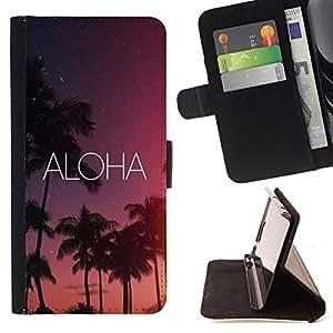 King Art - Premium-PU-Leder-Prima caja de la PU billetera de cuero con ranuras para tarjetas, efectivo Compartimiento desmontable y correa para la mu?eca FOR Samsung Galaxy Note 4 SM-N910 N910 IV- Aloha