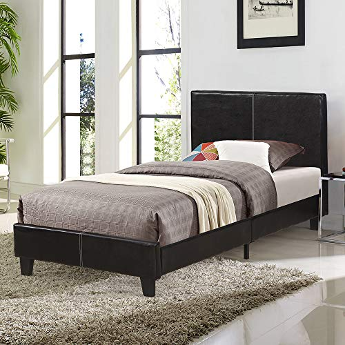 - Decor Hut Twin Size Bed Frame Faux Leather Upholstered with Headboard Footboard Wood Slat Support - Bedroom Master Room Frame Base - no Boxspring Needed - Twin Size
