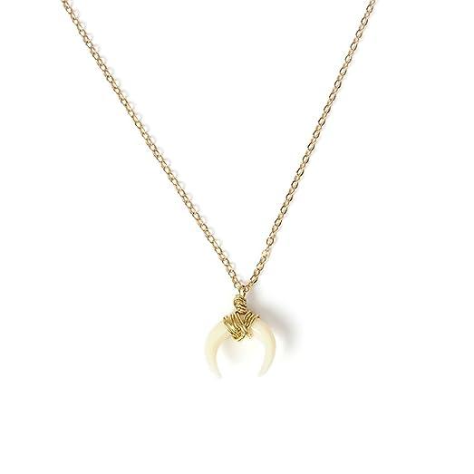 Amazon women ladies pendant necklace ivory crescent gold plated women ladies pendant necklace ivory crescent gold plated simple pendant necklaces aloadofball Images
