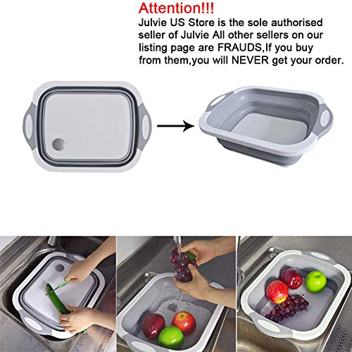 Julvie Collapsible Cutting Board with Dish Tub,Colander Fruits Vegetables Wash and Drain Sink Storage Basket 3 in 1 Multifunctional Kitchen Gadget (Cutting Board With Strainer)