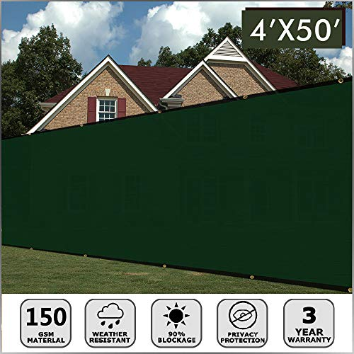 (Artpuch Fence Screen 4' x 50' Dark Green Heavy Duty Fencing Mesh Shade Net Cover with Brass Grommets for Wall Garden Yard Backyard Indoor Outdoor )