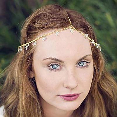 19afc67971a9f Amazon.com : Fdesigner Gypsy Crystal Head Chain Bridal Chain ...