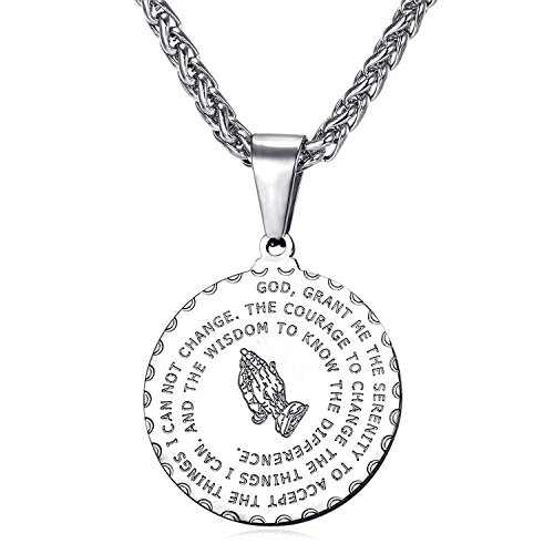 (Bible Verse Prayer Necklace Free Chain Christian Jewelry Stainless Steel Praying Hands Coin Medal Pendant (Sivler Necklace))