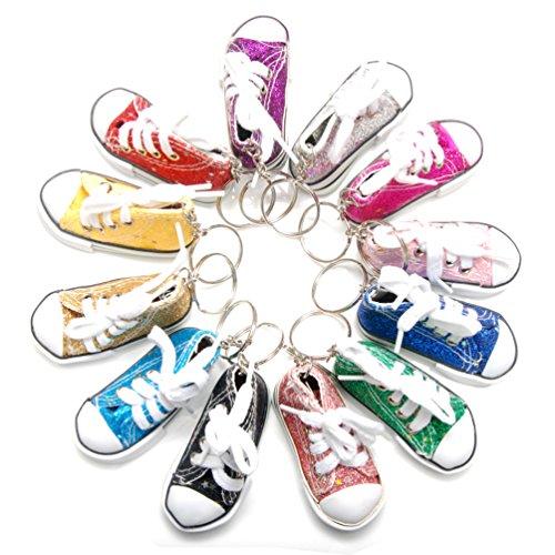 Favorict Canvas Mini Sneaker Shoe Keychain Keyring (Pack 12, Assort Color)