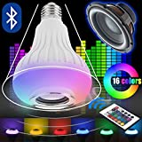 LED Music Light Bulb, E27 12W led light bulb with Wireless Bluetooth Speaker RGB Changing Color Lamp Built-in Audio Speaker with Remote Control for Home, Bedroom, Living Room, Party Decora