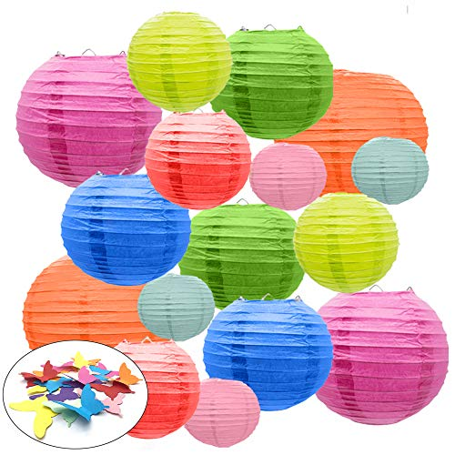 16 Paper Lanterns by Party Girl Kim | Outdoor Decorative Colored Hanging Round Paper Lights | Fun, Easy and Elegant - with Free Butterflies for Decoration (Multi-Color) ()