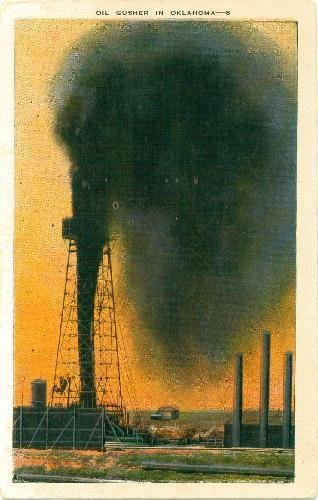 Postcard Oil Gusher in Oklahoma Kroppco 8 Milwaukee Wisconsin - Oil Gusher
