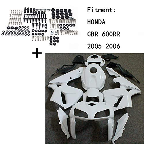 HONGK- Unpainted ABS Body work Fairing Kit w/screw Compatible with HONDA CBR 600RR 2005-2006 INJECTION [B07QG3X1WX]