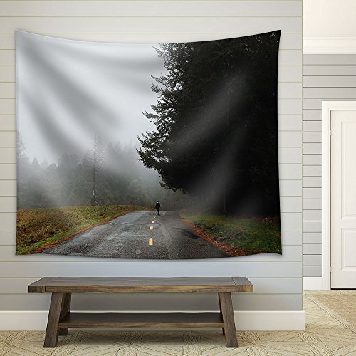 a Man Walking on the Road in Misty Day Fabric Wall Tapestry