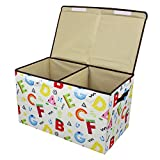 Softcloudy Big Toy Chest Collapsible Storage Box Toys Organizer with Cover for Plush Toys, Stuffed Animals, Books, Children's Clothes, Small Items,Gifts White