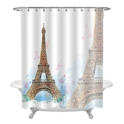 MitoVilla Hand Painted Gold Paris Eiffel Tower Decor for Bathroom, Watercolor Paris Themed Mildew Resistant Fabric Shower Curtain Set with Hooks, 72 x 72 - Watercolor Paris