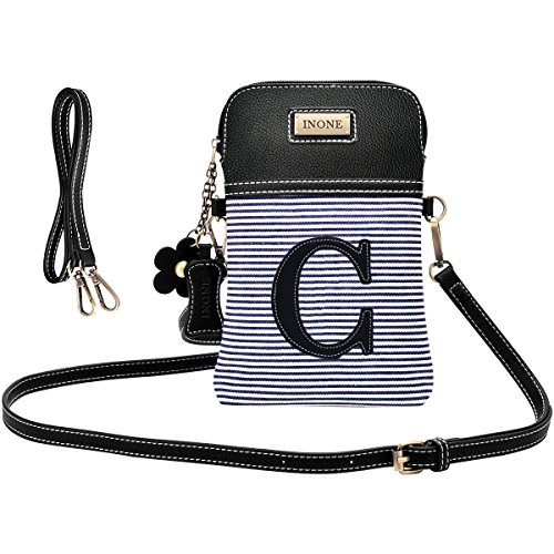 inOne Crossbody Bag Cell Phone Purse - Women PU Leather Handbag with Black and White Stripe Canvas Adjustable Straps - Monogram - Letter C