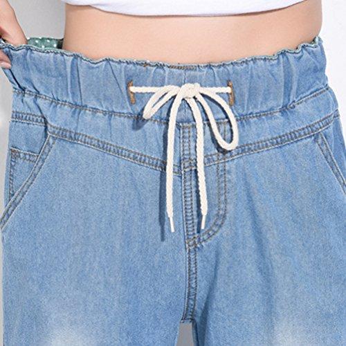 Femme Pantalons Bootcut Elastique avec Confortable en No Clair Jambe Bleu Stretch Evase Large Taille Casual Tookang Jean Denim qBtdOwqA
