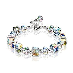 "KesaPlan Swarovski Bracelet""A Little Romance"" Stretch Bracelet Aurore Boreale Crystals 7″- 9″ Christmäs Gifts"