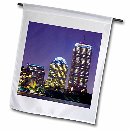 3dRose TDSwhite - Miscellaneous Photography - Boston Skyline Buildings Night View - 18 x 27 inch Garden Flag (fl_285345_2)
