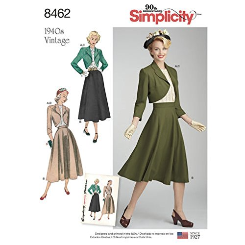 Sewing Patterns Blouses (Simplicity Pattern 8462 Misses' Vintage Blouse, Skirt and Lined Bolero (SIZE 6-14) SEWING PATTERN)