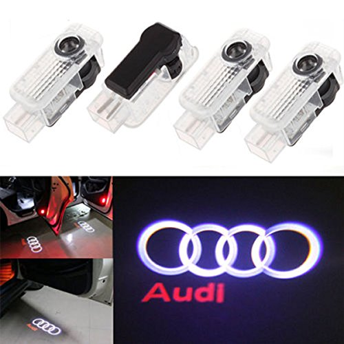 [CNAutoLicht 4PCS Cree LED Door Step Courtesy Light Fit Audi A1 A2 A3 A4 A5 A6 A7 A8 Q2 Q3 Q6 Q5 Q7 R8 TT RS4 RS5 RS6 RS7 S3 S4 S5 S6 S7 S8 Welcome Light Laser Shadow Logo Projector Lamp #1] (Audi A4 Lights)