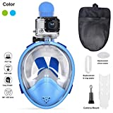 Full Face Snorkel Mask- Ufanore Foldable 180¡ã Panoramic View Free Breathing Diving mask Anti-Fog and Anti-Leak Snorkeling Mask with Gopro Camera Mount, Easy to Adjust
