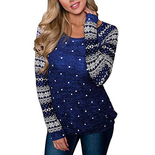 (Christmas Women Long Sleeve Snowflake Sweatshirt Pullover Tops Blouse)