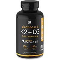 Vitamin D3 + K2 with Organic Coconut Oil - 60 Veggie Softgels
