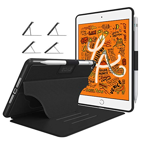 Soke Case - iPad Mini 5 Case 2019 (5th Generation), [Luxury Series] Extra Protective But Slim, Strong Magnetic, 4 Convenient Stand Angles, Auto Sleep/Wake Cover, Elastic Pencil Holder(Black)