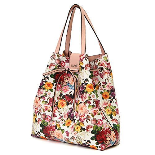 Women Tote Bag Black Handbag Shoulder White Kadell handle Pattern Purse Top Ladies Floral Bags For adxpnwSq