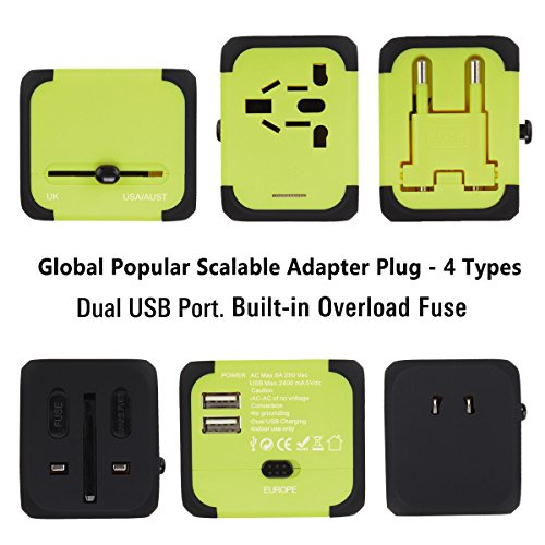 Universal Travel Adapter,All-in-one Worldwide Travel Chargers Adapters for US UK AU EU with Dual USB Charging Ports Universal AC Socket - Safety Fused(Green)