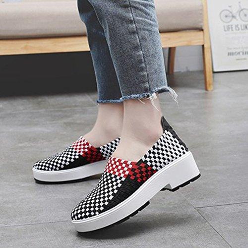 Giy Kvinna Tillfälliga Loafers Slip-on Plattform Sneakers Vävning Andas Färg Dagdrivare Moccasin Skor Svart