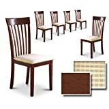 Cappuccino / Espresso Finish Kitchen Dining Dinette Set of 6 Chairs For Sale