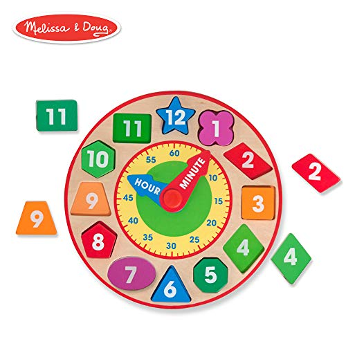 - Melissa & Doug Shape Sorting Clock (Developmental Toy, Sturdy Wooden Construction, Develop Time-Telling Skills, 10