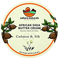 Sahara Naturals African Shea Butter Cream | Cashmere Silk - Super-Hydrating Body Cream and Face Moisturizer - Highly Restorative Skin Care Cream for Body and Face - 4oz