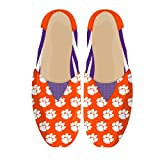 NCAA Womens College Ladies Canvas Slip-On Summer Shoes - Pick Team (Stripes - Clemson Tigers, Medium)