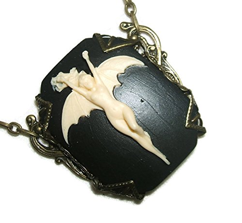 BAT LADY CAMEO NECKLACE Silver Plt Bird Wings