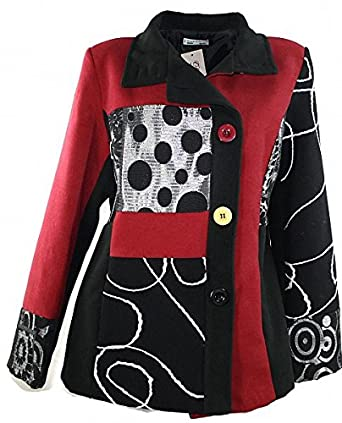 new styles f061a 10851 #1154 Damen Designer Kurzmantel Patchwork Wintermantel Jacke Winter  Schwarz-Rot 38 40 42 44