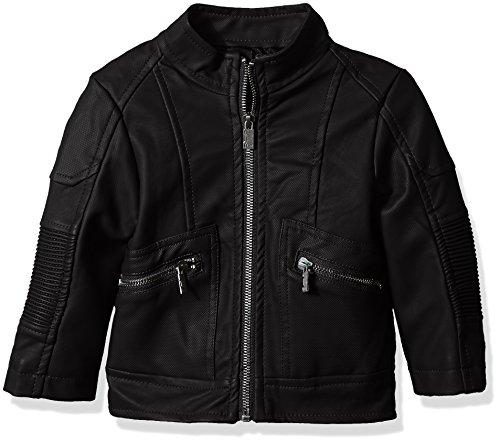 (Urban Republic Baby Boys Texture Faux Leather Moto Jacket, Black, 18M)