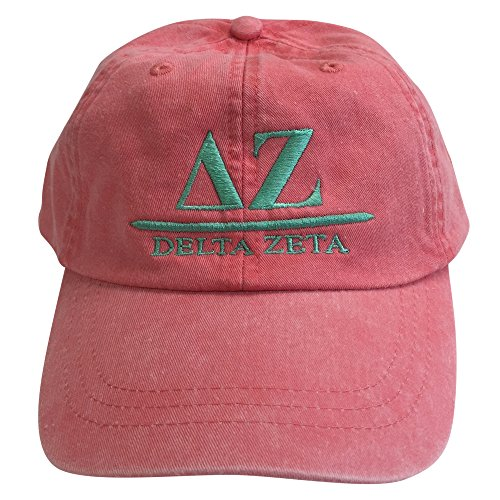 Delta Zeta (B) Coral Hat with Sea Foam Thread Sorority Baseball Hat Cap Greek Letter Sports Cap Adjustable - Frat Strap
