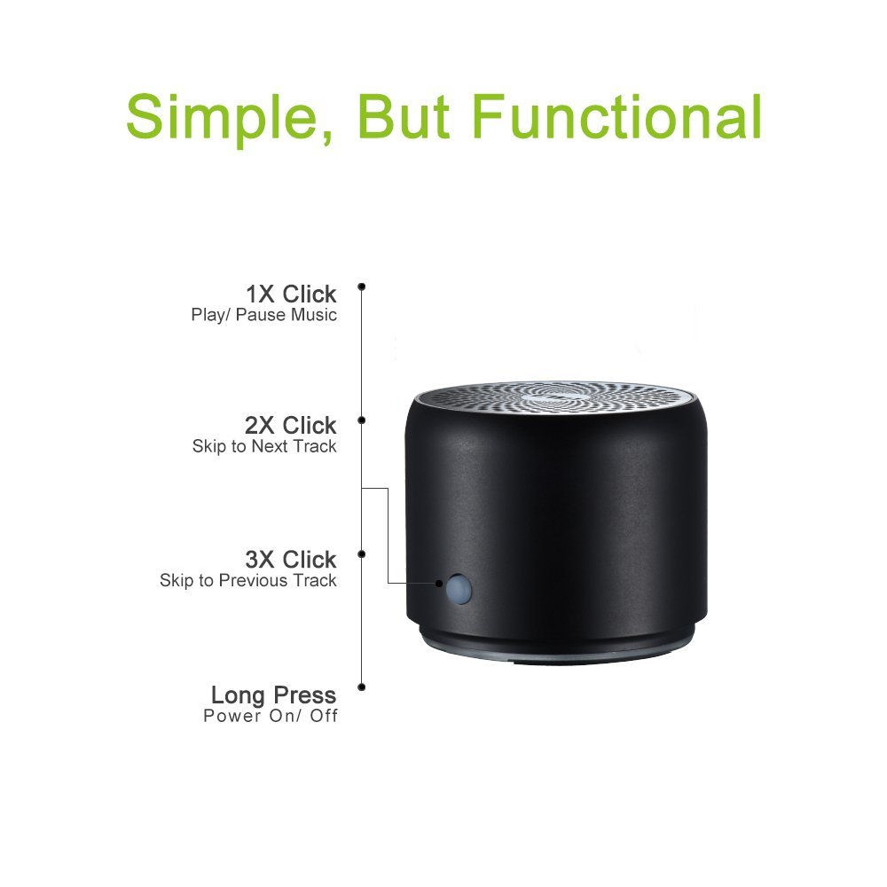 EWA A106 Portable Mini Bluetooth Speaker, Enhanced Bass and High Definition Sound, Portable Design, for iPhone, iPad,Nexus,Laptops and More by Ewa (Image #3)