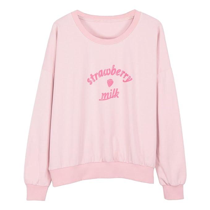 Stampato Latte Fragola Maglietta Strawberry Sweatshirt Felpa YNuth q6TRw