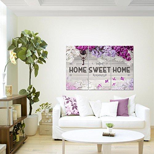Bilder-Home-Flieder-Wandbild-120-x-80-cm-Vlies-Leinwand-Bild-XXL-Format-Wandbilder-Wohnzimmer-Wohnung-Deko-Kunstdrucke-Violett-3-Teilig-100-MADE-IN-GERMANY-Fertig-zum-Aufhngen-503731a