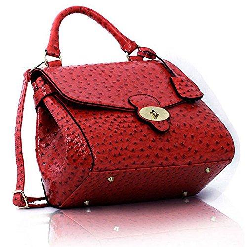 TrendStar - Bolso de asas de piel sintética para mujer marrón P - Tan F - Pink
